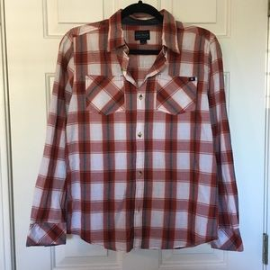Lucky Brand • Plaid Button Down Red White Gray